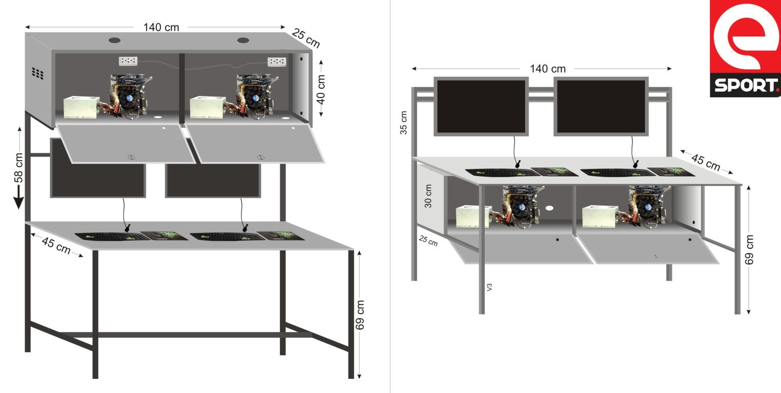 kích thước bàn phòng net