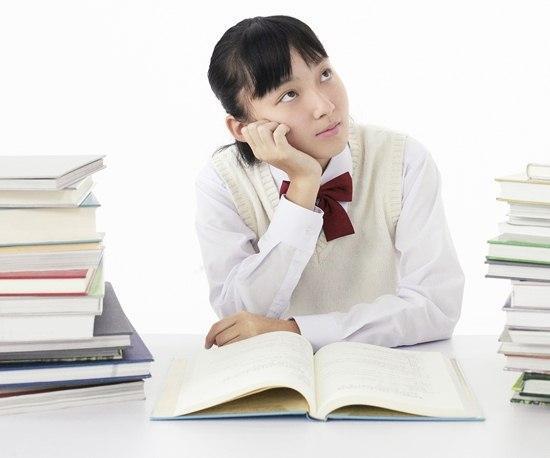 Japanese school girl thinking